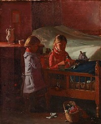 interior with two small girls playing by hans andreasen hessellund