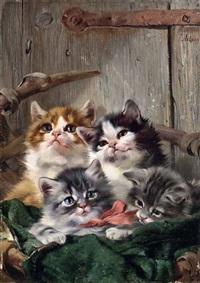 vier katzenkinder in einem korb vor einer stalltüre by julius adam the younger