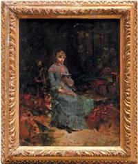 jeune fille lisant dans un jardin by walter gay