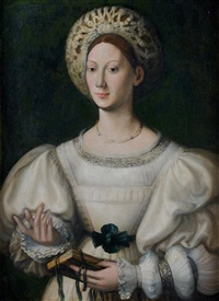 portrait de dame à la coiffe blanche by parmigianino