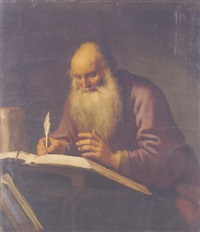 saint paul writing at a desk by lambert jacobsz