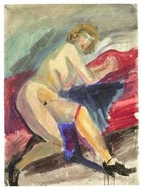 käthe i (akt auf rotem sofa) by otto dix