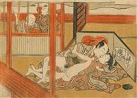 chuban yoko-e, amants s'étreignant, deux enfants à l'extérieur de la pièce dont l'un les observant by isoda koryusai