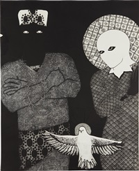 sin título (sikán, nasakó y espíritu santo) by belkis ayón