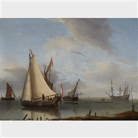 a royal yacht, barges and a warship in a calm by abraham jansz storck