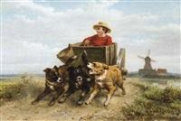 garçon dans une charrette à chien sur un sentier de bruyère by henriette ronner-knip