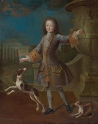 portrait of louis xv with two dogs by pierre gobert