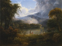 hunters with a dog in a landscape by thomas doughty