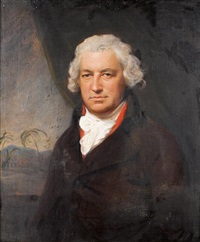 portrait of bryan edwards, in a brown coat, seated before a green curtain, a view to a caribbean landscape beyond by lemuel francis abbott