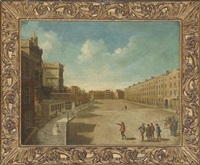 view of new palace yard, westminster, with elegantly dressed figures in the foreground by samuel scott