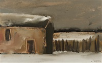 old house in the snow by johan hendrik van ieperen