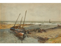 number one the ebbing tide - fisherfolk on a quay sorting through their catch by robert weir allan