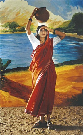 returning from the tank after raja ravi varma by pushpamala n