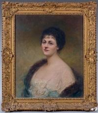 portrait de la comtesse c. de maquille, née geneviève d'yanville by edouard cabane