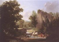 berger et son troupeau s'abreuvant près des ruines by claude-antoine jacob