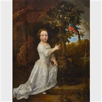young girl in a garden pointing to a parrot by eglon hendrik van der neer
