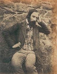 autoportrait assis devant un mur, la main gauche à la tempe, gilet écossais by auguste vacquerie