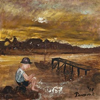charles blackman at mallacoota inlet by john de burgh perceval