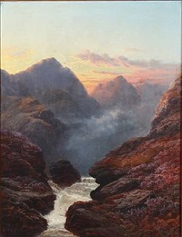 glen rosa, arran, evening by george blackie sticks