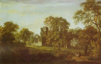 a wooded landscape with two riders on a path, the ruins of a church beyond by william ashford