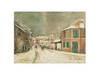 rue de l'abreuvoir sous la neige a montmartre by maurice utrillo