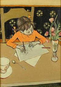 enfant dessinant by simon simon-auguste