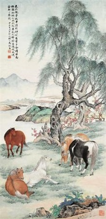 柳荫群马 by ma dai