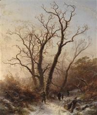 spaziergang im winterwald by pieter lodewijk francisco kluyver