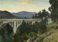 view of the colorado street bridge, the arroyo seco and the san gabriel mountains at sunset, pasadena, ca by henry leopold richter