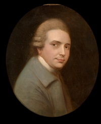 portrait of actor john henderson, in a light blue jacket with a white neckerchief by gainsborough dupont