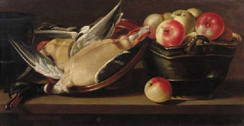 apples in a basket with a dead duck in an earthenware bowl on a wooden ledge by cornelis jacobsz delff
