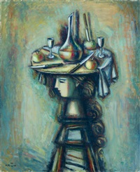 girl in a hat with a still life by aleksandr grigor'evich tyshler