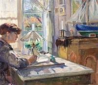 skrivende kvinne by bernhard d. folkestad