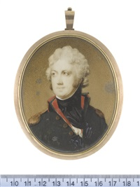 an officer, wearing dark green coat with red collar and lining, gold epaulettes, white chemise, black stock and cravat, his hair powdered and tied with black ribbon by edward miles