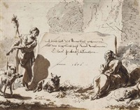 design for a frontispiece: allegory of diligence and improvidence by nicolaes berchem