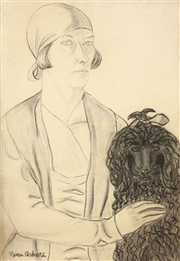 self-portrait with poodle by nina arbore