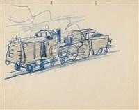 rückwärtsfahrende lokomotive mit tender, güterwagen ziehend by lyonel feininger