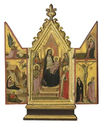 the madonna and child enthroned with saints; the nativity with the angel of the annunciation; the crucifixion with virgin annunciate (triptych) by taddeo gaddi