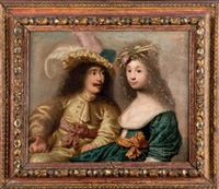 portrait d'un couple de fiancés by french school (17)