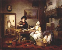 a kitchen interior with a mother holding a plate of fish, a baby sleeping in a cradle, and a woman holding a bucket of fish standing next to a table, a view of the pantry beyond by pieter fonteyn