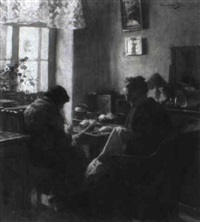 interior with women sewing by ferenc komlosy
