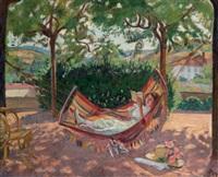 jeune femme lisant dans un hamac by jean puy