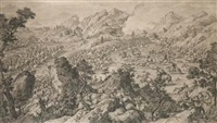 a battlescene - the battle of khurungui, xinjiang? (+ another; pair) by jacques aliamet