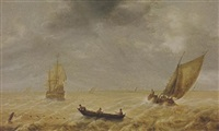 fishermen in a rowing boat and sailing vessels in a choppy sea, a city in the distance by hendrick van anthonissen