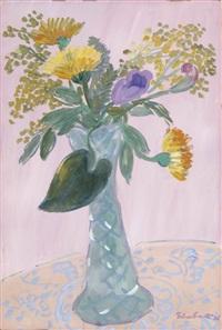 fleurs sur fond rose by georg einbeck