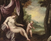 venus and cupid in a landscape by lambert sustris