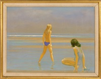 wading on the shore by robert r. bliss