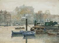 dordrecht, blue boats by hans herrmann