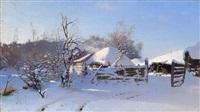 winter scene in a village by nikolai nikanorovich dubovskoy
