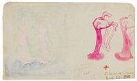 zwei entwürfe zu tänzerinnen mit schleier (from sketchbook) by august macke